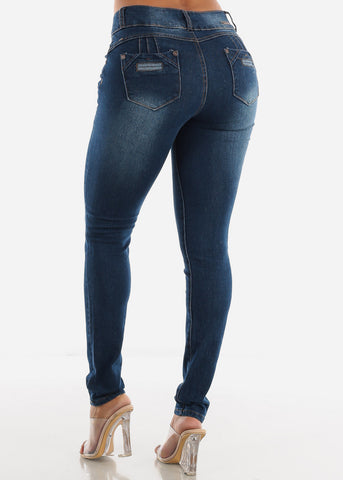 Butt Lifting Dark Wash Denim Skinny Jeans