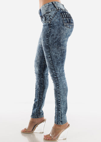 Image of Butt Lifting Low Rise Marble Wash Skinny Jeans