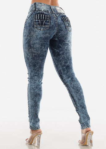 Butt Lifting Low Rise Marble Wash Skinny Jeans