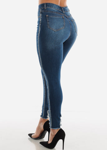 Image of Ultra High Rise Raw HemDark Skinny Jeans