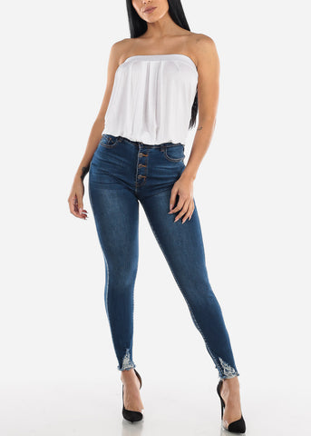Ultra High Rise Raw HemDark Skinny Jeans