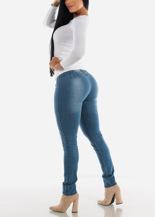 Butt Lifting Mid Rise Blue Skinny Jeans