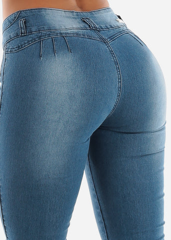Image of Butt Lifting Mid Rise Blue Skinny Jeans