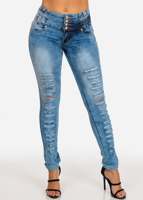 d8adeb45c78 4 Button Mid Rise Distressed Butt Lifting Levanta Cola Acid Wash Skinny  Jeans ...