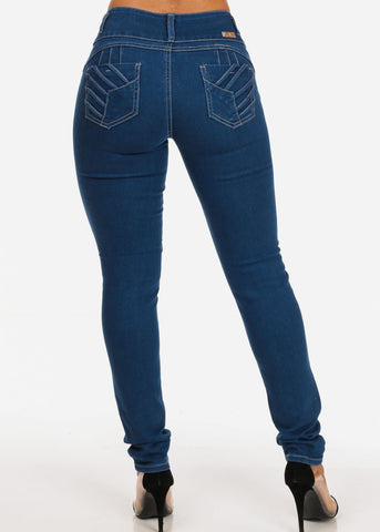 Med Wash Butt Lifting 3 Button Lace Up Detail Skinny Jeans