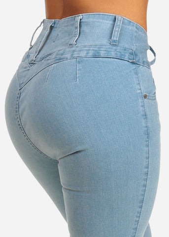 Image of Butt Lifting Light Wash High Waist Skinny Jeans
