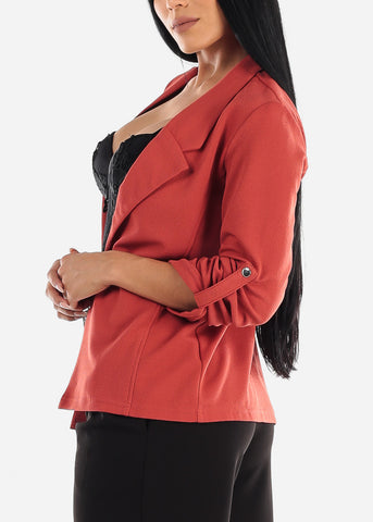 Image of 3/4 Sleeve Open Front Brick Blazer