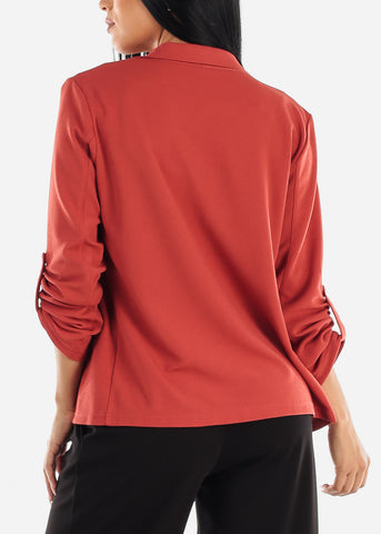 3/4 Sleeve Open Front Brick Blazer