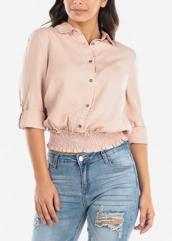 Image of Pink Elastic Waist Button Down Top