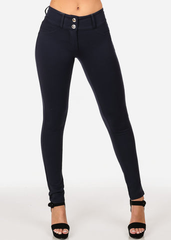 Image of Women's Junior Casual Going Out Mid Waist Levanta Cola Colombian Style Solid Navy Skinny Leg Pants