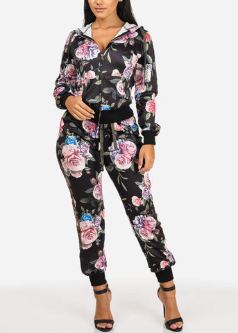 Image of Floral High Rise Black Jogger Pants