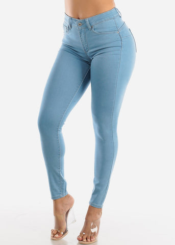 Image of Plus Size Butt Lifting Light Wash Jeans