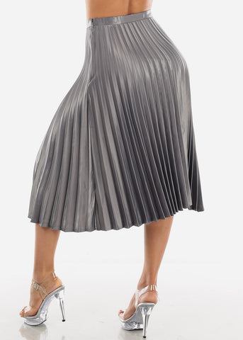 Image of Pleated Silver Skirt