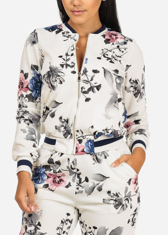 Image of White Floral Jacket W Pockets