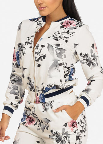 White Floral Jacket W Pockets