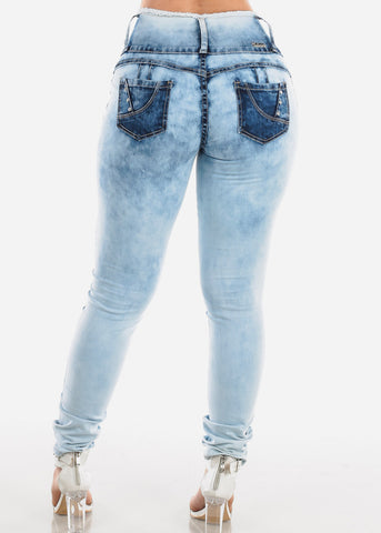 Acid Wash Ripped Butt Lifting Skinny Jeans