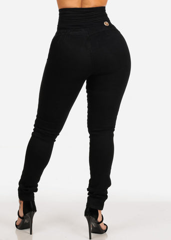 Image of Ultra High Rise Levanta Cola 5 Button Solid Black Skinny Jeans