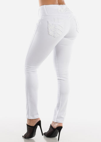 High Rose Butt Lifting White Skinny Jeans