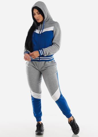 Image of Blue Colorblock Hoodie & Jogger Sweatpants (2 PCE SET)