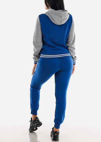 Blue Colorblock Hoodie & Jogger Sweatpants (2 PCE SET)