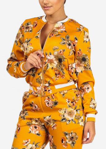 Image of Mustard Floral Jacket W Pockets