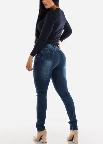 Image of Blue Butt Lifting Skinny Jeans