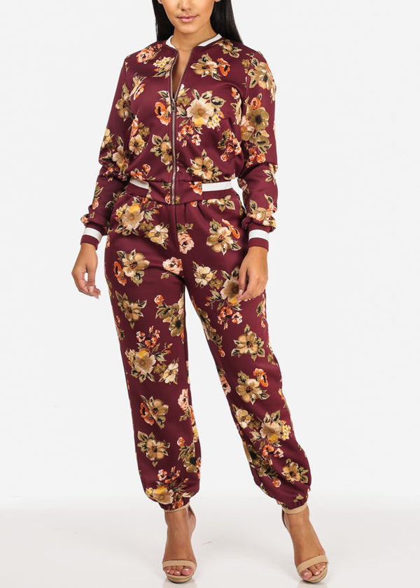 Floral High Rise Wine Jogger Pants