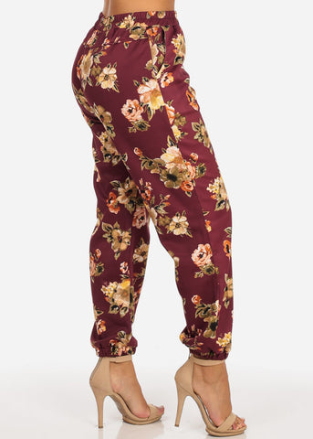 Image of Floral High Rise Wine Jogger Pants