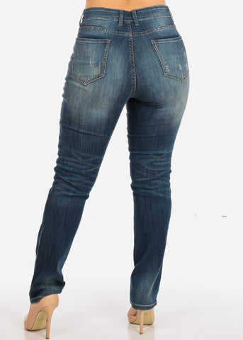NINE PLANET Plus Size Ripped High Rise Denim Jeans