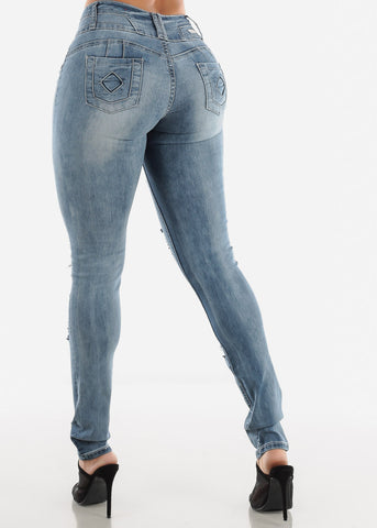 Image of Low Rise Torn Butt Lifting Faded Skinny Jeans