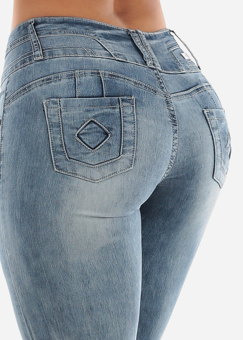 Low Rise Torn Butt Lifting Faded Skinny Jeans