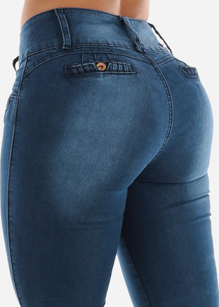 Butt Lifting Blue Levanta Cola Skinny Jeans