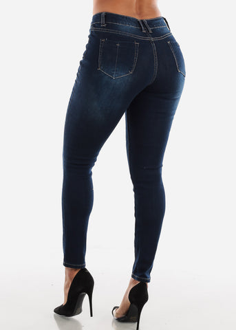 Image of Ripped Mid Rise Dark Wash Skinny Jeans