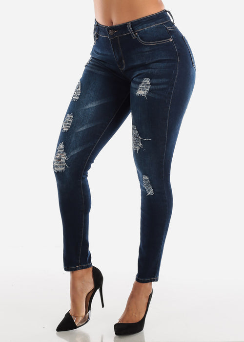 Ripped Mid Rise Dark Wash Skinny Jeans
