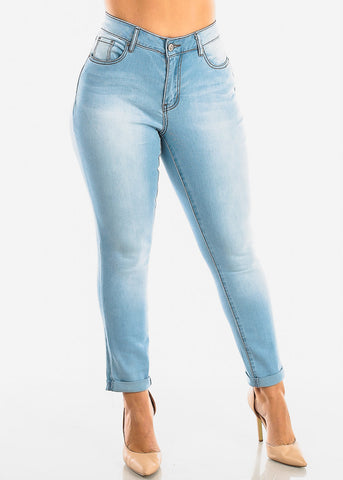 Image of Plus Size Roll Cuff Light Wash Jeans