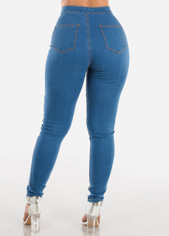 Ultra High Rise Med Wash 1 Button Skinny Jeans For Women Ladies Junior