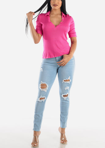 Image of Light Denim Ripped Jeans