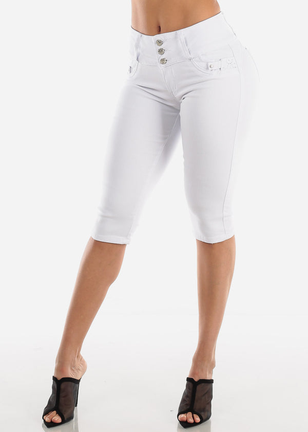 Levanta Cola White Denim Capris