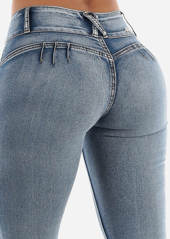 Image of Low Rise Levanta Cola Skinny Jeans