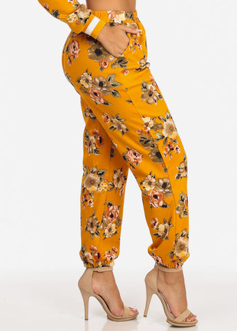 Image of Floral High Rise Mustard Jogger Pants