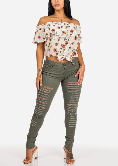 Ripped Olive Mid Rise Skinny Twill Pants