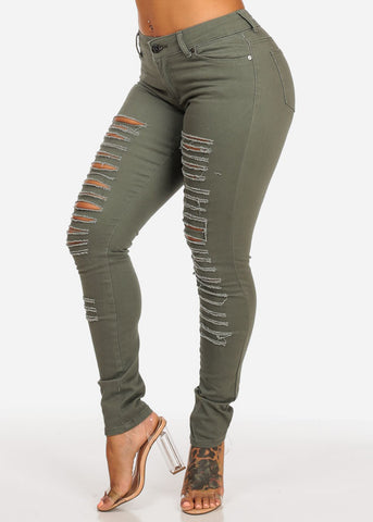 Image of Ripped Olive Mid Rise Skinny Twill Pants