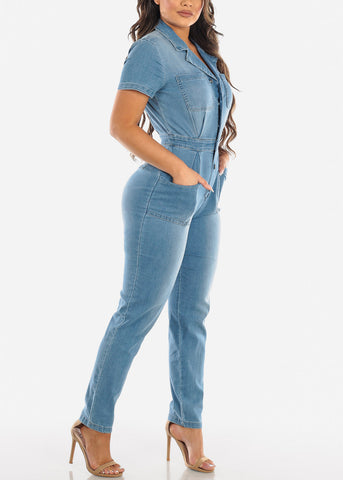 Image of Button Up Light Wash Denim Jumpsuit
