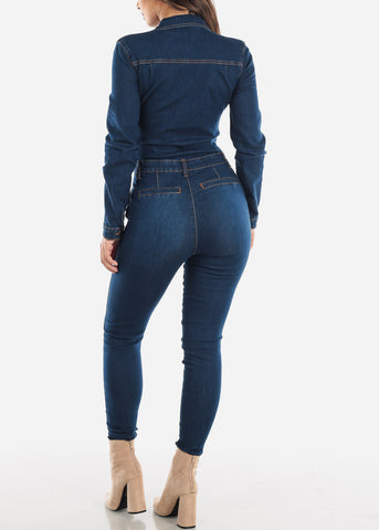 Image of Dark Denim Long Sleeve Coveralls
