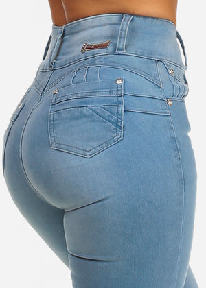 Butt Lifting Light Wash High Rise Skinny Jeans