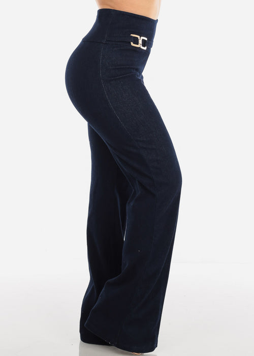 Sexy Elegant High Waisted Wide Legged Denim Style Dressy Pants For Women Ladies Junior Party Night Out Clubwear