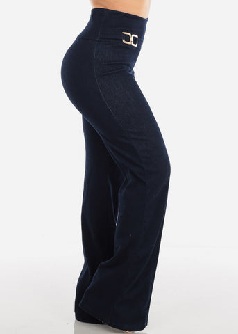 Image of Sexy Elegant High Waisted Wide Legged Denim Style Dressy Pants For Women Ladies Junior Party Night Out Clubwear