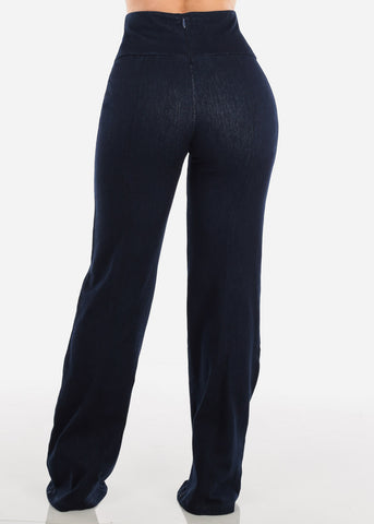 High Rise Elegant Denim Style Pants