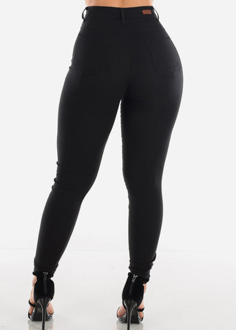 Sexy High Rise Solid Black Supper Stretchy Jegging Skinny Pants