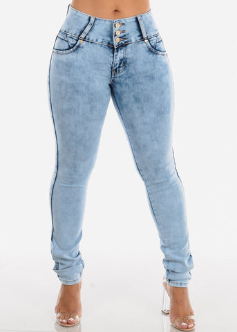 Butt Lifting Light Acid Wash Skinny Jeans